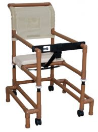 Walker PVC w/Ht Adj Arms &Seat Std w/Outriggers-Wood Tone