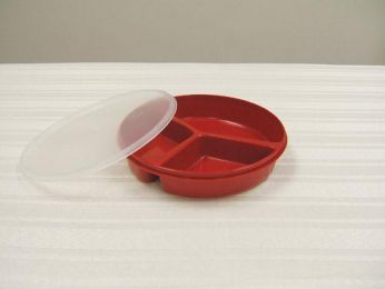 Scoop Dish Partitioned w/Lid Redware