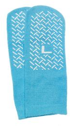 Slipper Socks; Large Sky Blue Pair  Men's 7-9   Wms 8-10