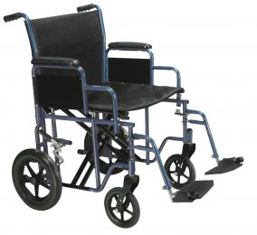 Transport Wheelchair Bariatric 20  Wide  Blue