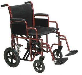 Transport Wheelchair Bariatric 20  Wide  Red