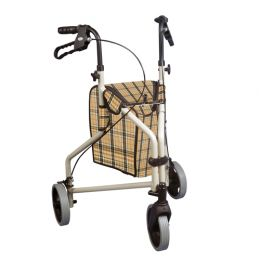Rollator 3-Wheeled w/Pouch Loop Brakes - Tan Plaid / 199