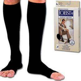 Jobst For Men 20-30 Open Toe Knee-Hi  Black Large